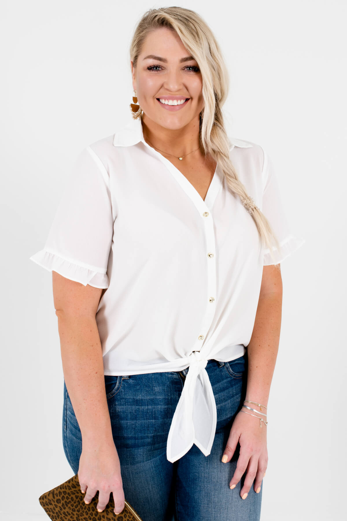 White Gold Button-Up Plus Size Shirts with Ruffle Sleeves and Tie-Front Detail