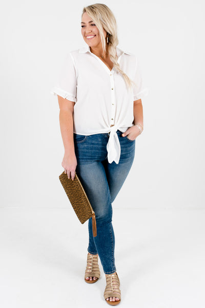 White Gold Button-Up Ruffle Tie-Front Shirts Affordable Plus Size Boutique