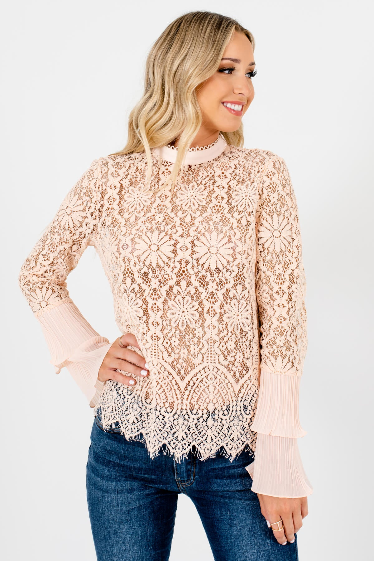 Peach Pink Semi-Sheer Lace Material Boutique Tops for Women
