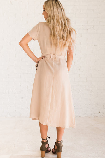 Beige Brown Women's Button-Up Dress