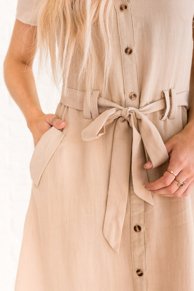 Beige Brown Midi-Length Dresses for Women