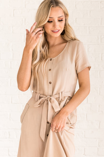 Beige Brown Comfortable Women's Dress