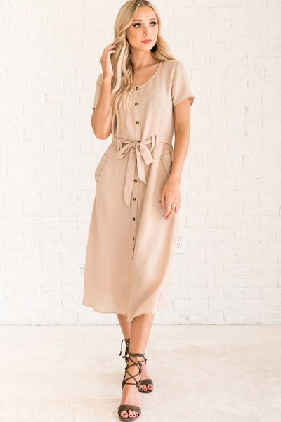 Beige Brown Button-Up Nursing Friendly Dresses for Women
