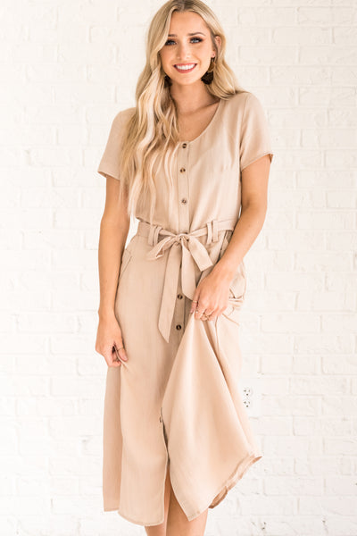 Beige Brown Nursing Friendly Dresses for Women