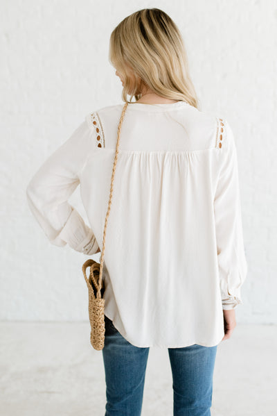 Cream Women's Boutique Blouse with High-Low Hem
