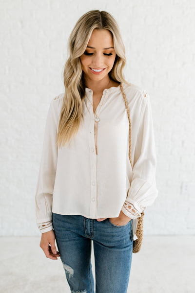 Cream Button-Up High-Quality Boutique Blouses for Women