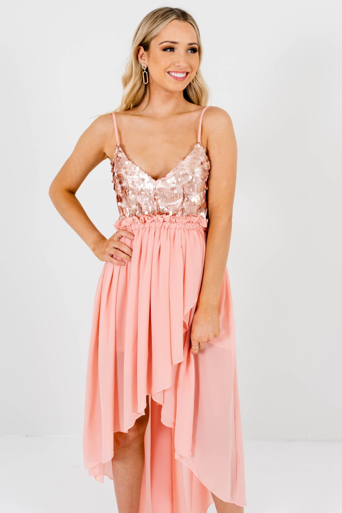 Women's Pink Adjustable Strap Boutique Mini High-Low Hem Dress