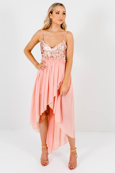 Pink Sequined Bodice Boutique Mini Dresses for Women