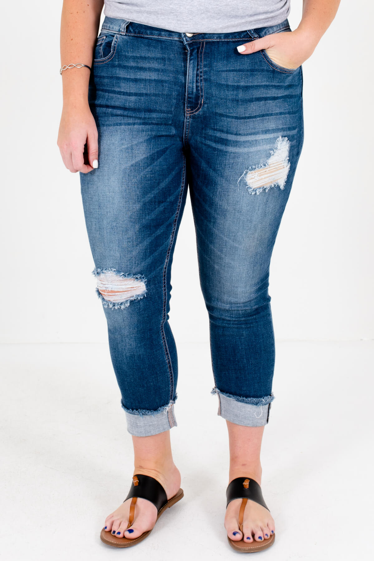 Medium Wash Blue Denim Distressed Detailing Boutique Plus Size Jeans for Women