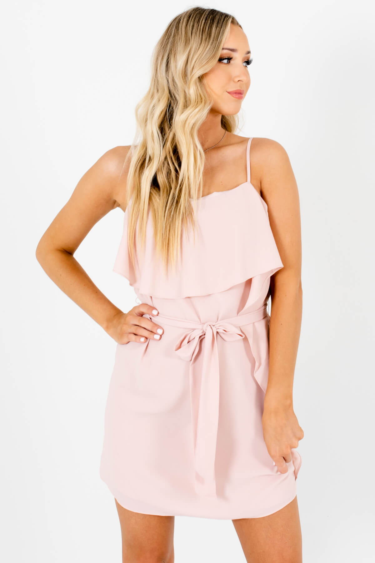 Blush Pink Asymmetrical Ruffled Overlay Boutique Mini Dresses for Women