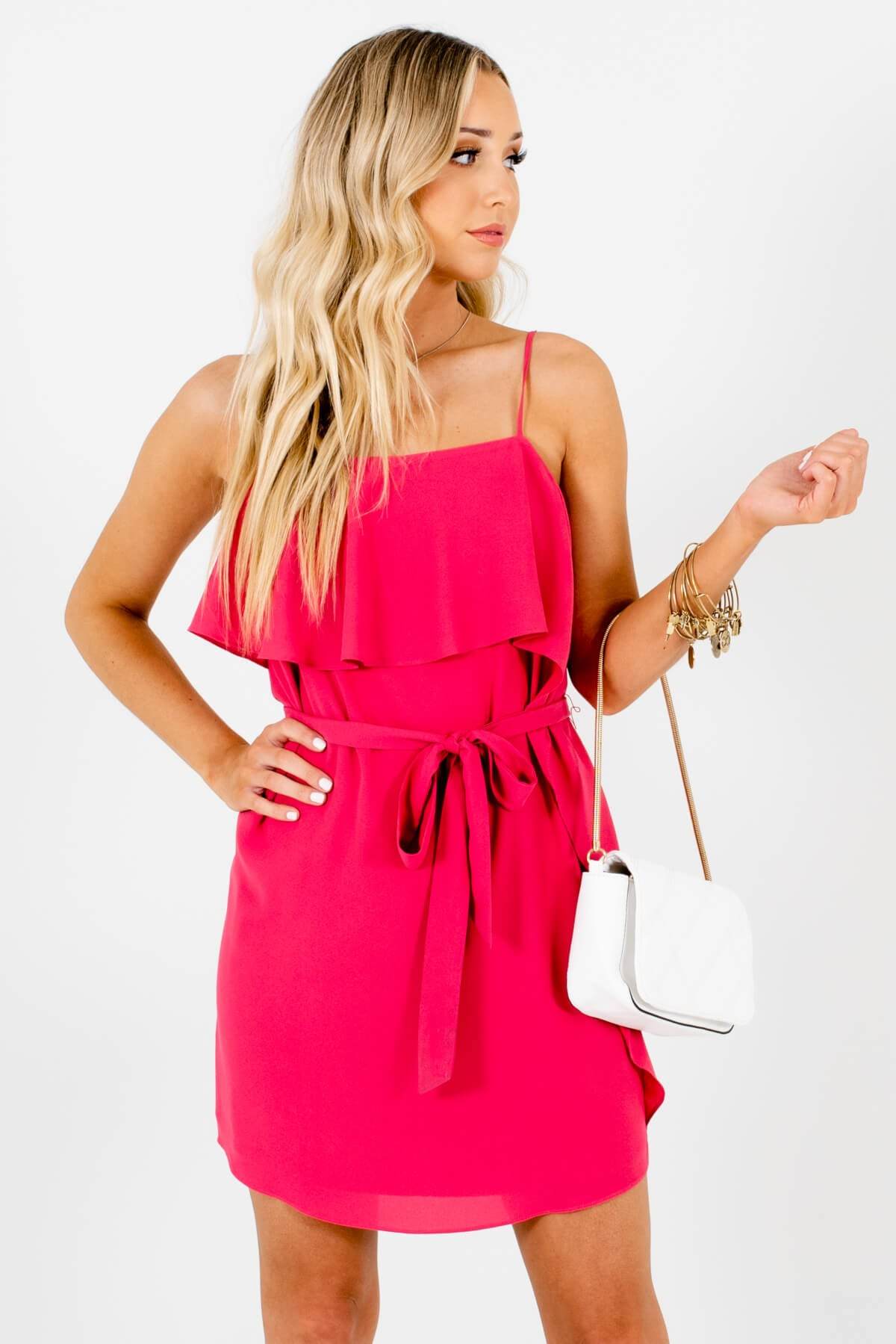 Hot Pink Ruffle Overlay Boutique Mini Dresses for Women