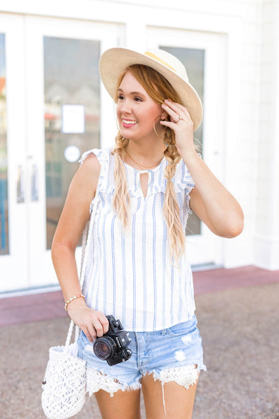 White Blue Striped Ruffle Tops Affordable Online Boutique