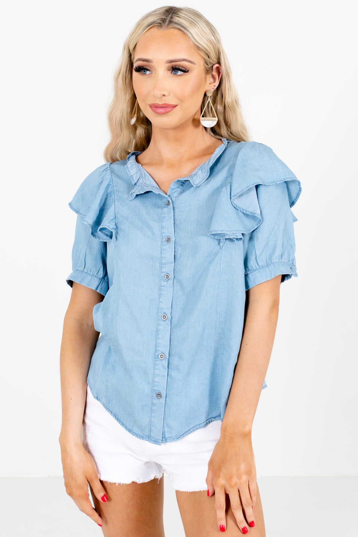 Blue Button-Up Front Boutique Tops for Women
