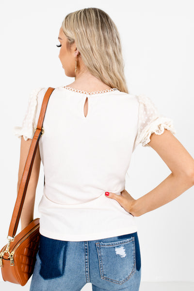 Women's Cream Stretchy Material Boutique Blouse