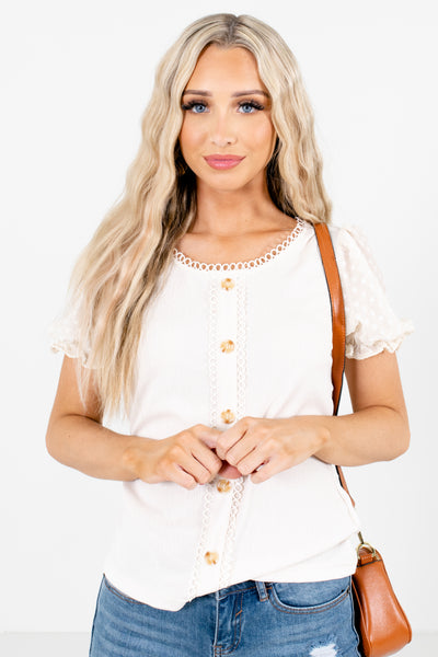 Cream Keyhole Back Boutique Blouses for Women
