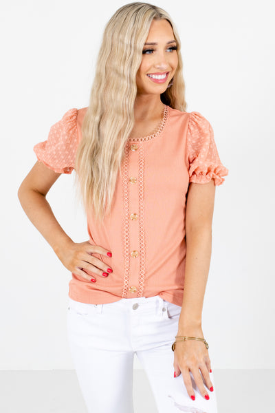 Pink Puff Sleeve Style Boutique Blouses for Women