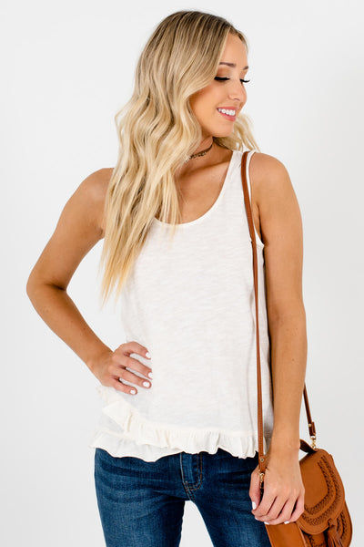 Cream Tank Style Boutique Tops for Women