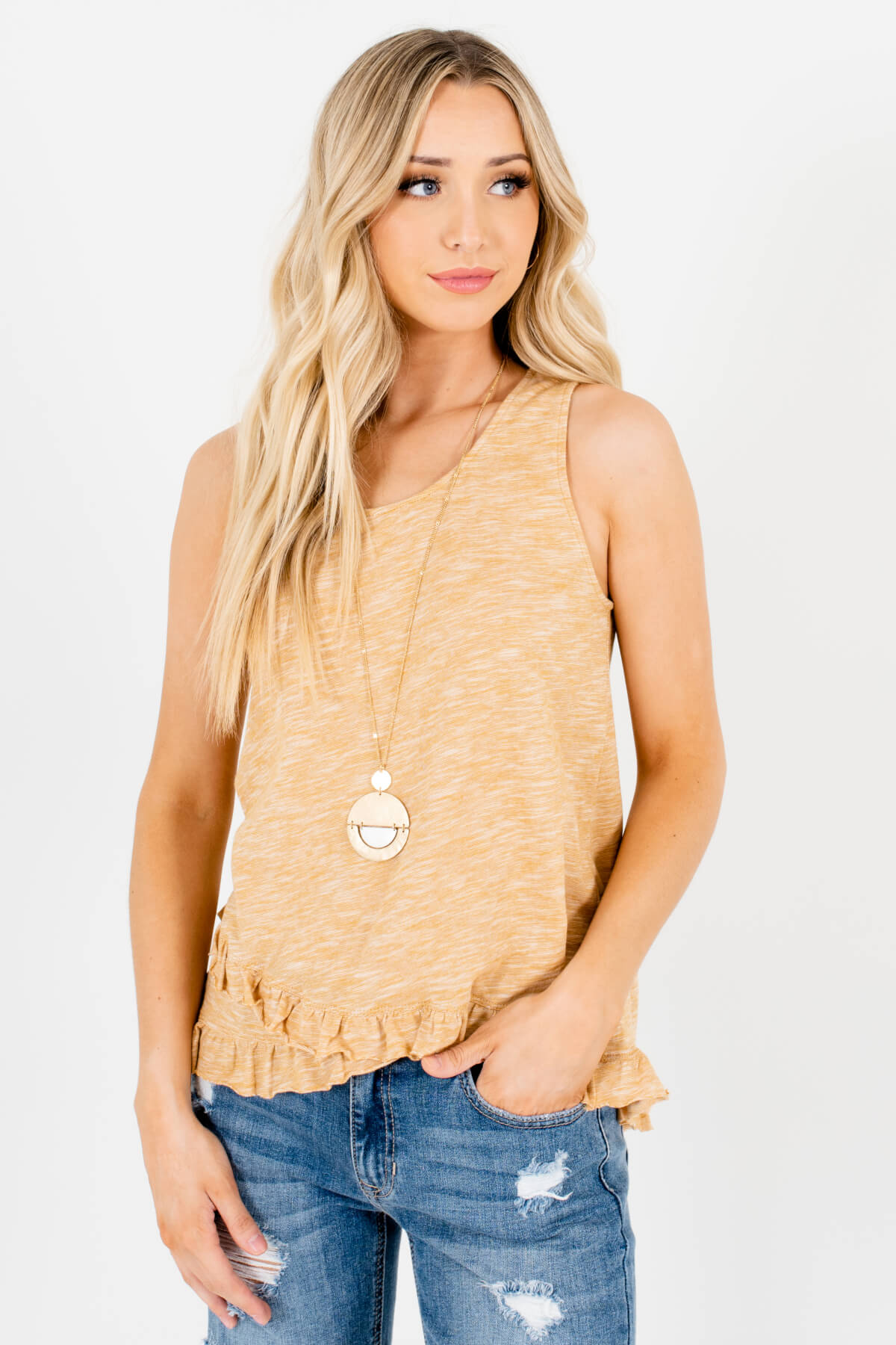 Heather Mustard Yellow Tank Style Boutique Tops for Women
