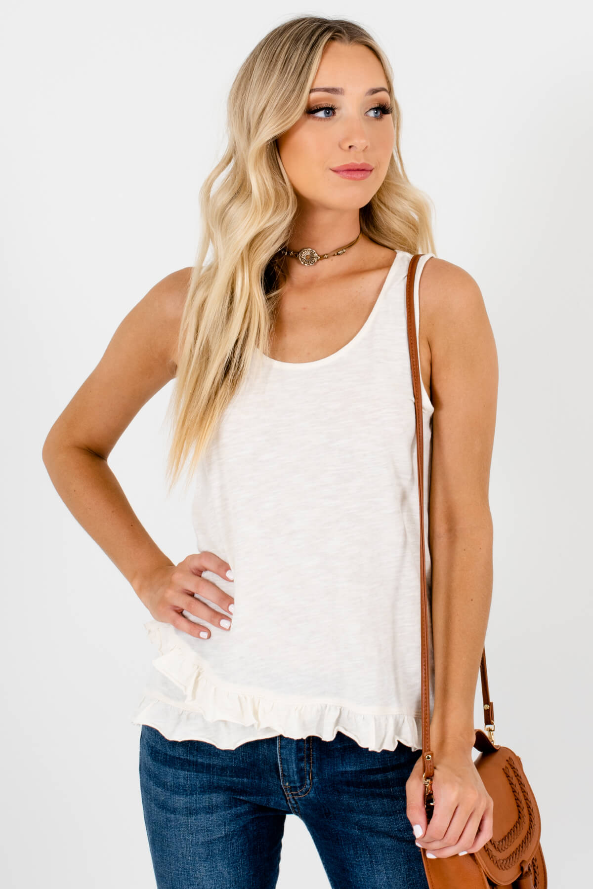 White Round Neckline Tank Style Boutique Tops for Women