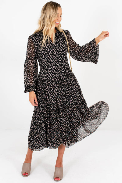 Black Pink Floral Print Tiered Peasant Pleated Midi Dresses