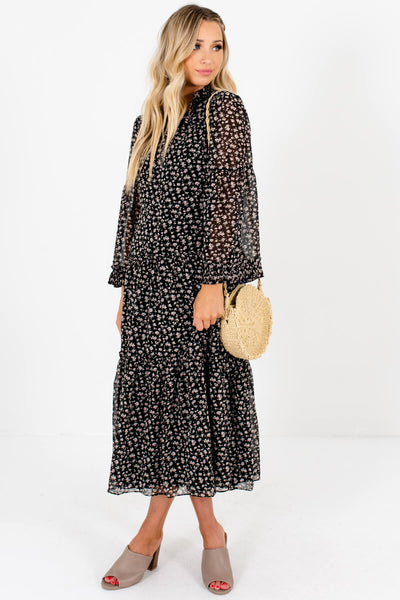 Black Floral Print Flowy Romantic Peasant Dresses for Women