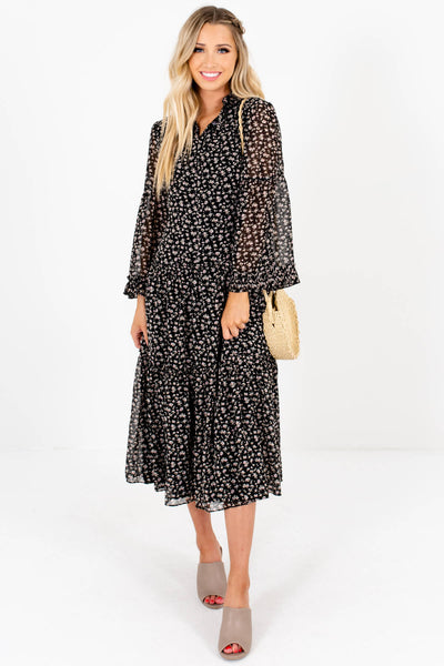 Black Ditsy Floral Print Tiered Peasant Midi Dresses for Women