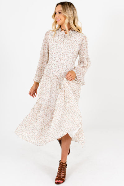 Ivory Pink Green Ditsy Floral Print Peasant Dresses for Women