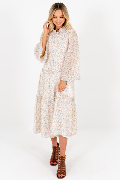 Ivory Ditsy Floral Print Pleated Peasant Midi Dresses for Women