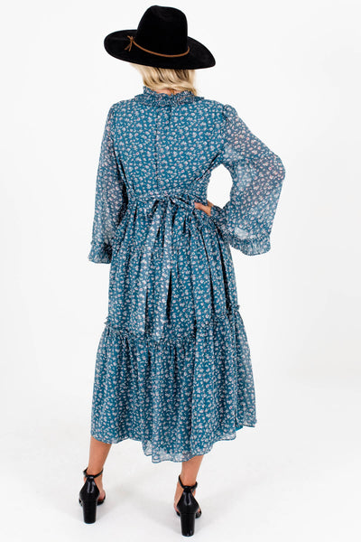 Teal Ditsy Floral Print Peasant Tiered Midi Dresses for Women
