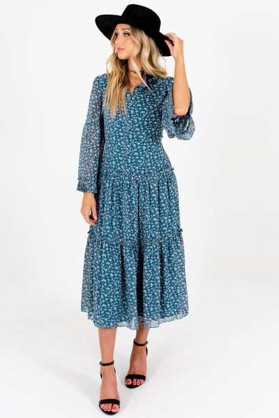 Teal Ditsy Floral Print Flowy Peasant Midi Dresses for Women