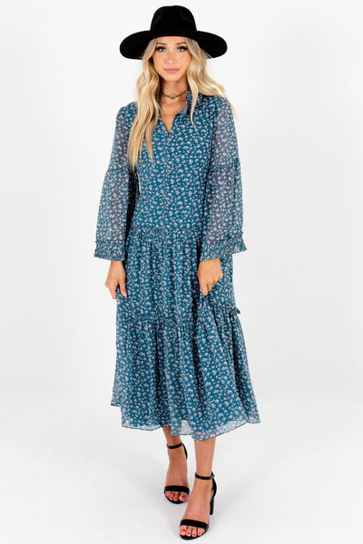 Teal Floral Print Peasant Midi Dresses Affordable Online Boutique