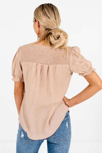 Women's Beige Brown Ruffled Sleeves Boutique Tops