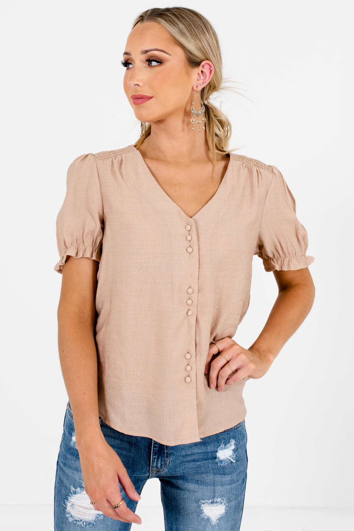Beige Brown Button-Up Front Boutique Tops for Women