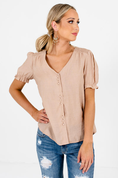 Beige Brown Business Casual Boutique Blouses for Women