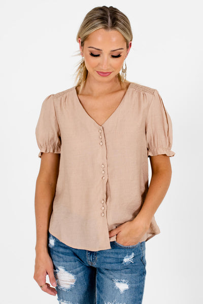 Beige Brown Cute and Comfortable Boutique Tops for Women