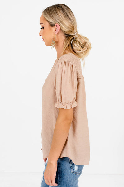 Women's Beige Brown Lightweight High-Quality Boutique Tops