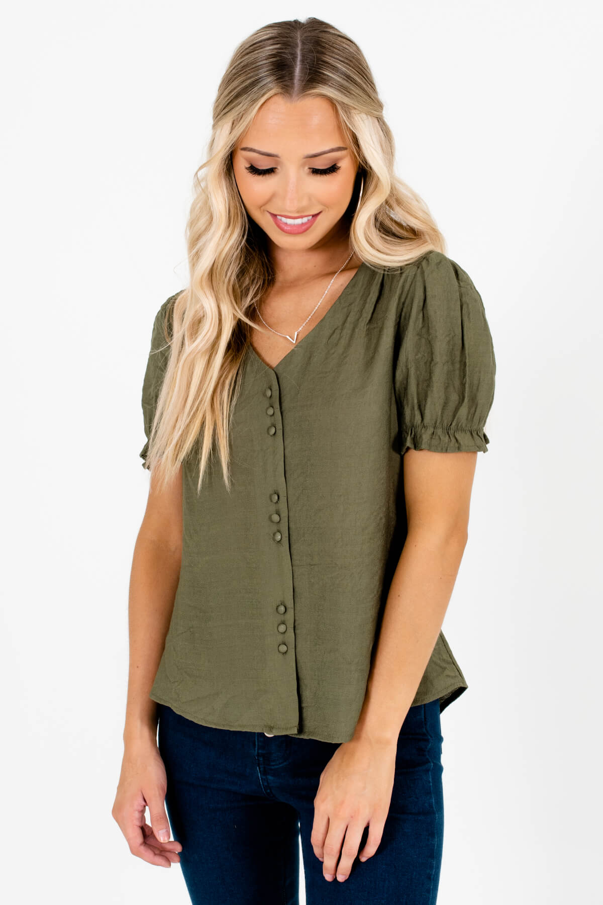 Olive Green Button-Up Front Boutique Tops for Women