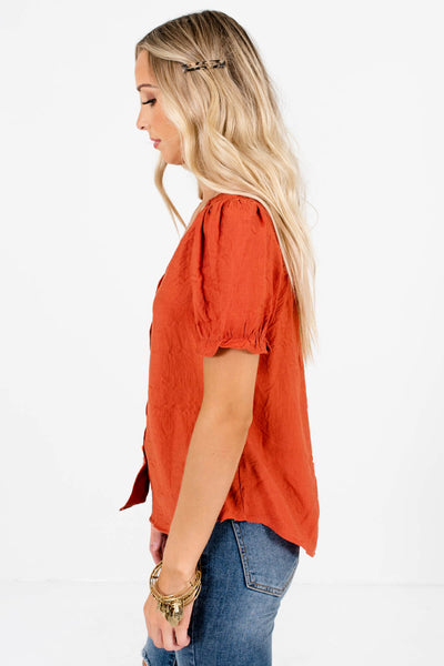 Women's Rust Orange Lightweight High-Quality Boutique Tops