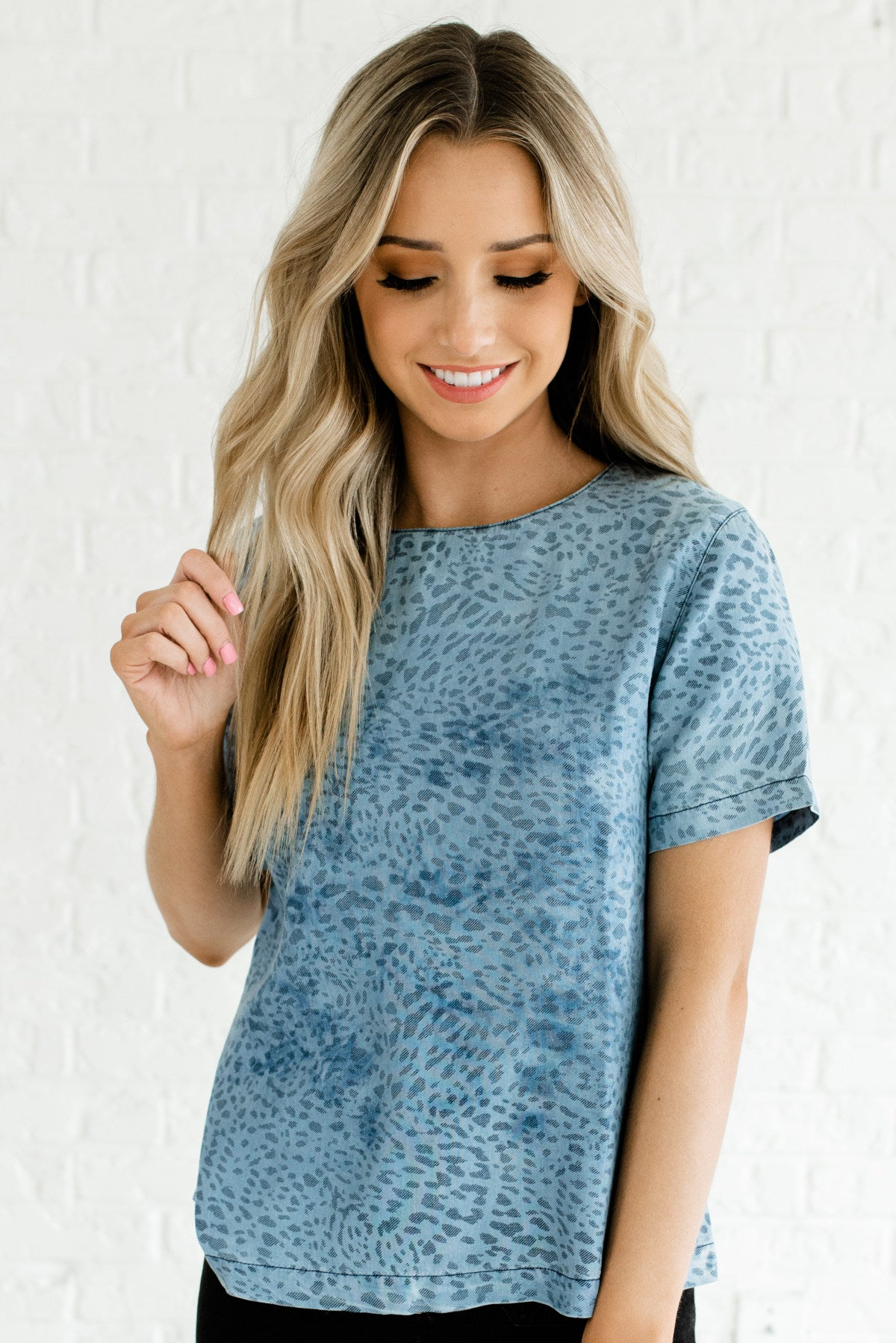 Blue Chambray Leopard Print Boutique Tops for Women