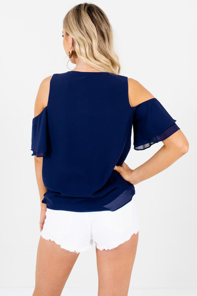 Navy Blue V Neckline Wrap Cold Shoulder Blouses for Women