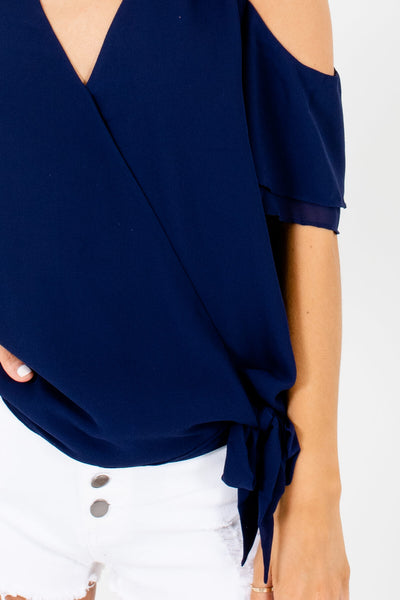Navy Blue Wrap Bodice Cold Shoulder V-Neckline Blouses