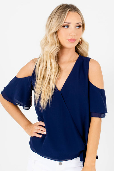 Navy Blue V Neckline Cold Shoulder Wrap Tops and Blouses