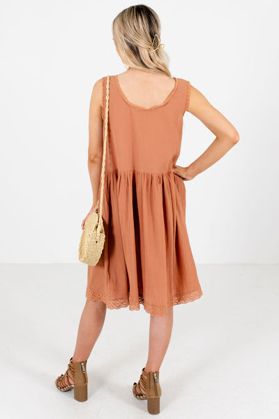 Women's Muted Orange Crochet Lace Detailed Boutique Dress