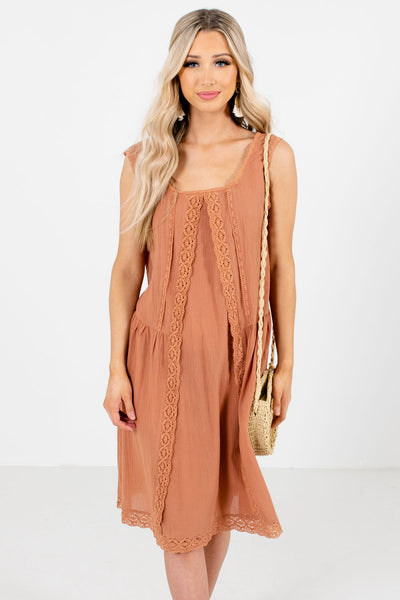 Muted Orange Knee-Length Boutique Dresses for Women
