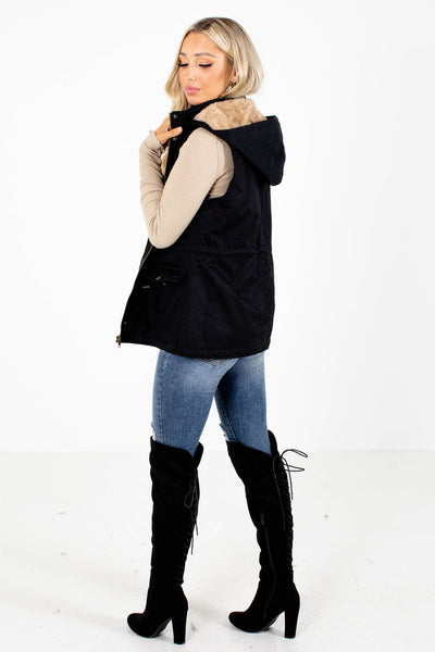 Women's Black Button-Up Front Boutique Vest
