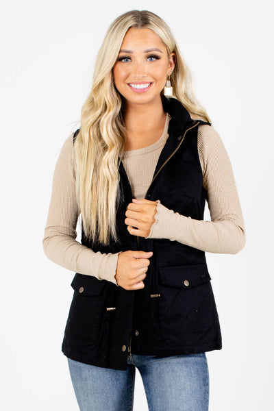 Black Zip-Up Front Boutique Vests for Women