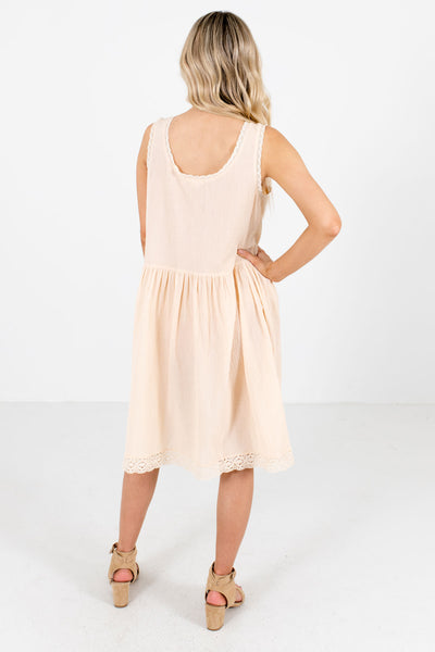 Women's Cream Lightweight High-Quality Material Boutique Dress