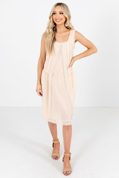 Cream Tank Top Style Boutique Knee-Length Dresses for Women