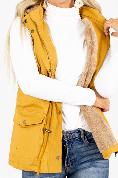 Women's Mustard Layering Boutique Vests for Women