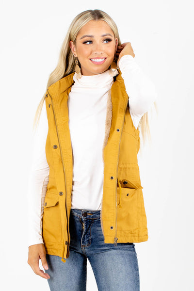 Mustard Cute and Comfortable Boutique Vests for Women